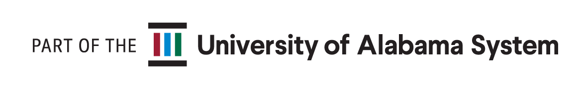 University of Alabama System One Line logo. 'Part of the University System'