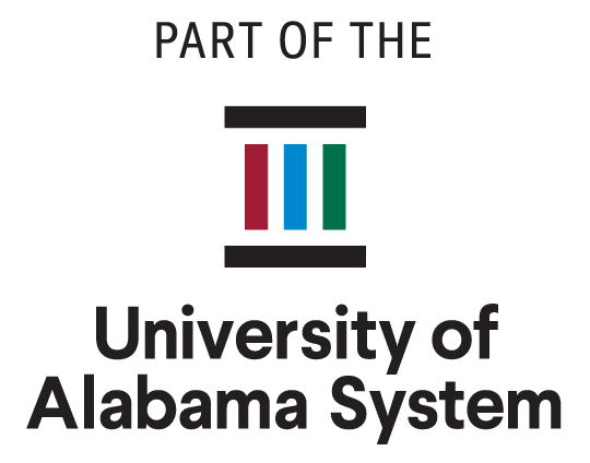 University of Alabama System Vertical logo. 'Part of the University System'