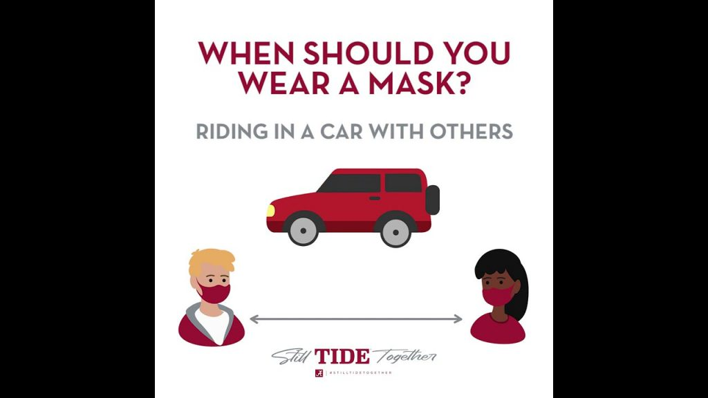 When should you wear a mask? Riding in a car with others. Still Tide Together.